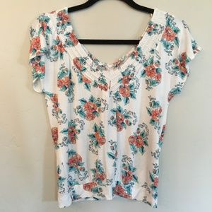 American Rag CIE White Floral Blouse Size Small